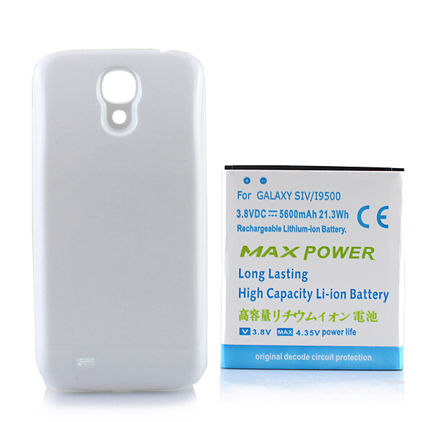 High Capacity 5600 mah Extended Backup Thicker <font><b>Battery</b></font> with White Back Case Cover For Samsung Galaxy S4 SIV i9500 Free Shipping