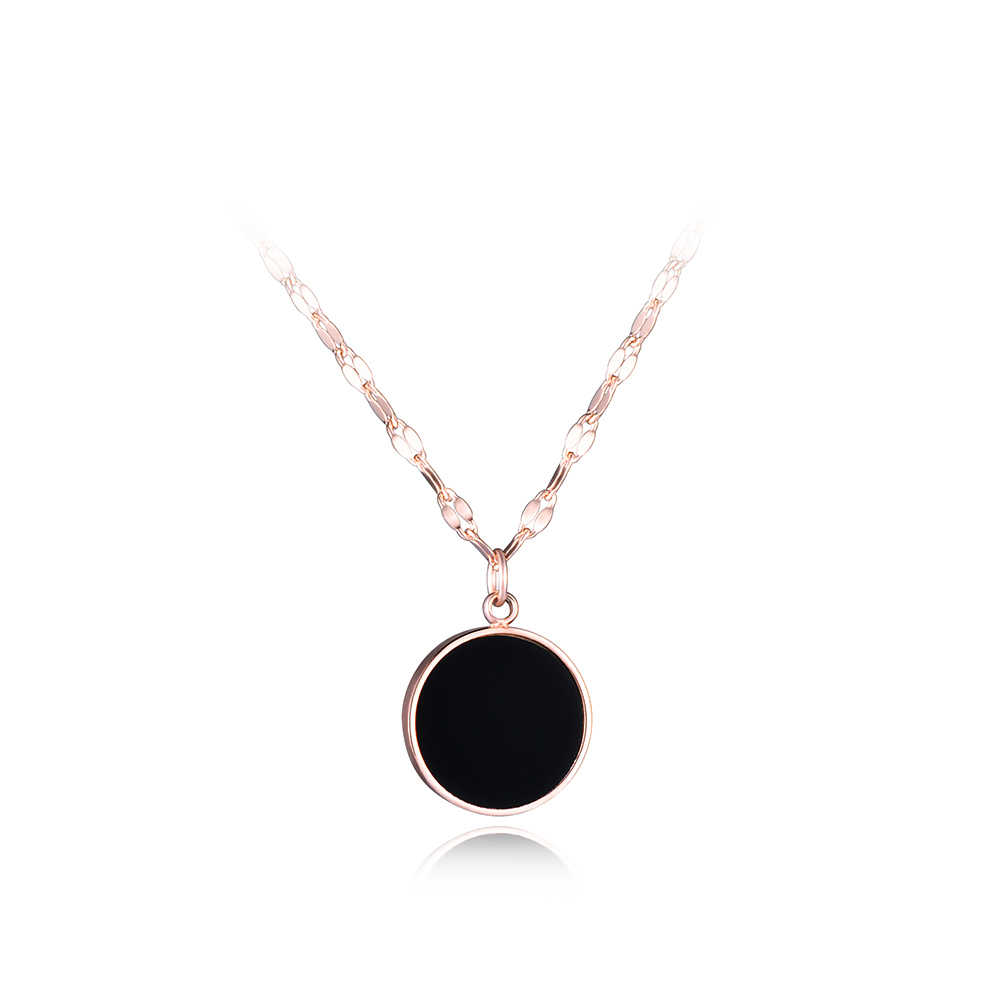 JeeMango Gold Color Roune Black Acrylic Pendant Necklace For Woman Simple Titanium Steel Chain Links Wedding Necklaces Jewelry