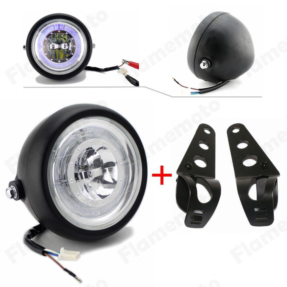Черный светодио дный 6 1/2 мотоцикл фар Ангел глаз с кронштейном для Harley Honda Yamaha Suzuki Kawasaki Bobber Chopper