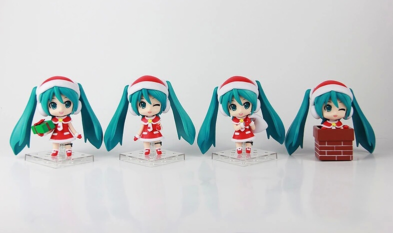 ФОТО Newest arrival 4pcs/set Japana anime Q version Hatsune Miku for Christmas gift action pvc figure toy tall 10cm in box as gift.