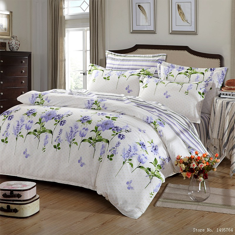 Buy 100 cotton queen size lavender flowers boho bedding la - Dimension lit queen size ...
