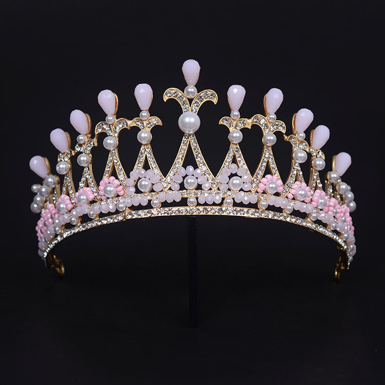 Gorgeous Women Hair Crowns Baroque Style Tiaras Bridal Wedding Hairbands Pink Crystal Pearl Party Jewelry In From