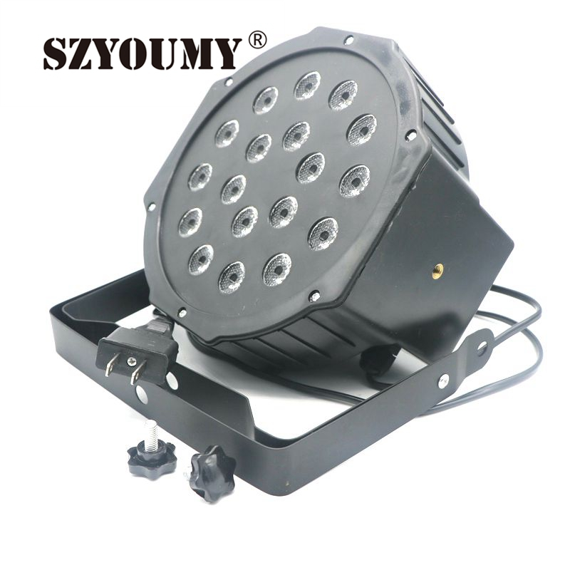 SZYOUMY 18W Led Stage Light High Power RGB Par Light With DMX512 Master Slave Led Flat DJ Equipments Controller for Party Disco hot ac 90 240v 54 x 1w rgb led stage light high power flat par light led stage lighting projector lamp for party ktv disco dj