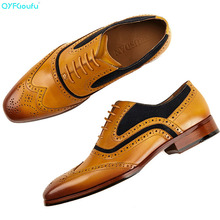 Men's Formal Oxford Shoes Genuine Leather Fashion Office Wedding Business Male Dress Shoes luxury italian brogue shoes