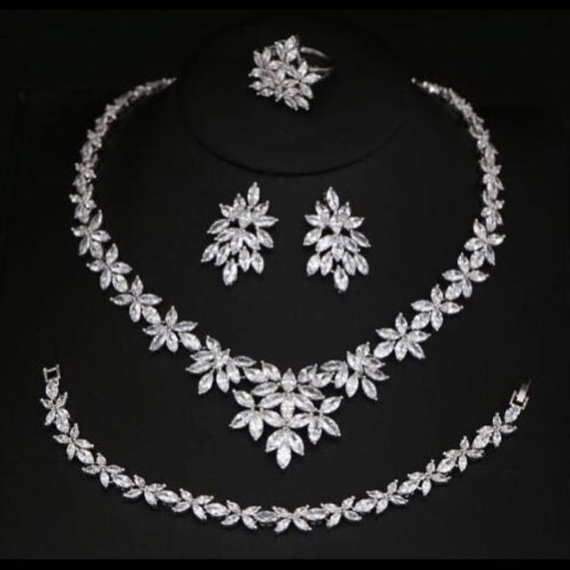 New Arrival Trendy 2 Color Flower Shape Cubic Zircon Necklace/ Earrings/ Bracelet/ Ring Set For Women Wedding