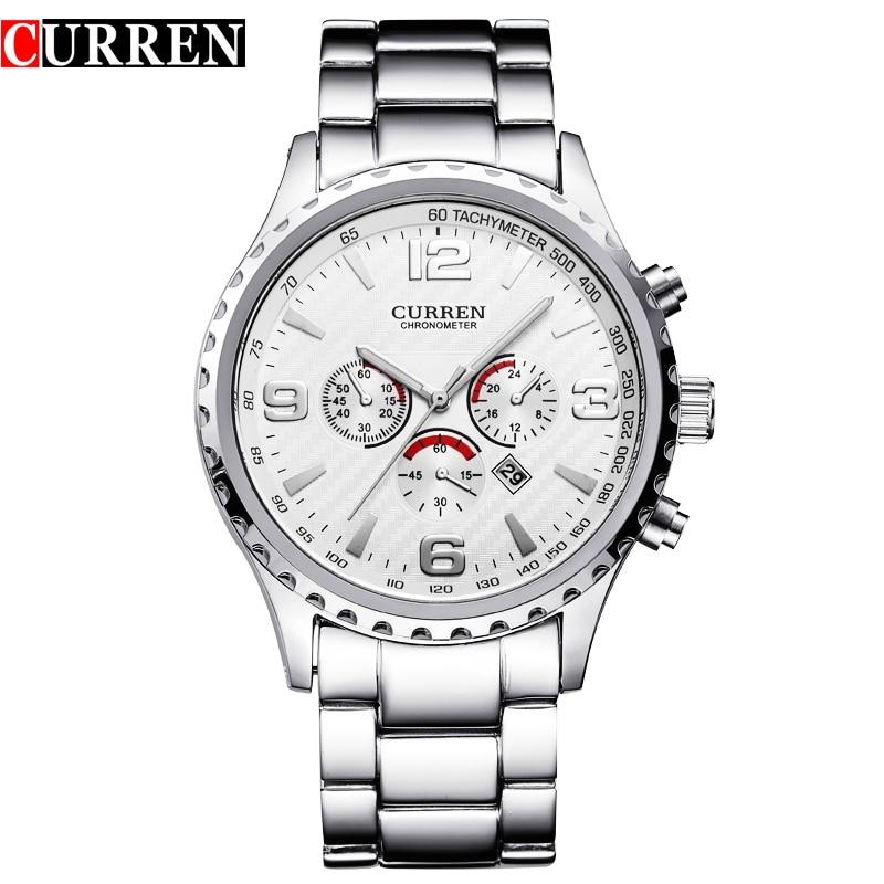Prix pour Curren Mode Horloge Hommes de Quartz Militaire Montres En Acier Plein de Sport Heures Hommes D'affaires Montres Relogio Masculino, W8056