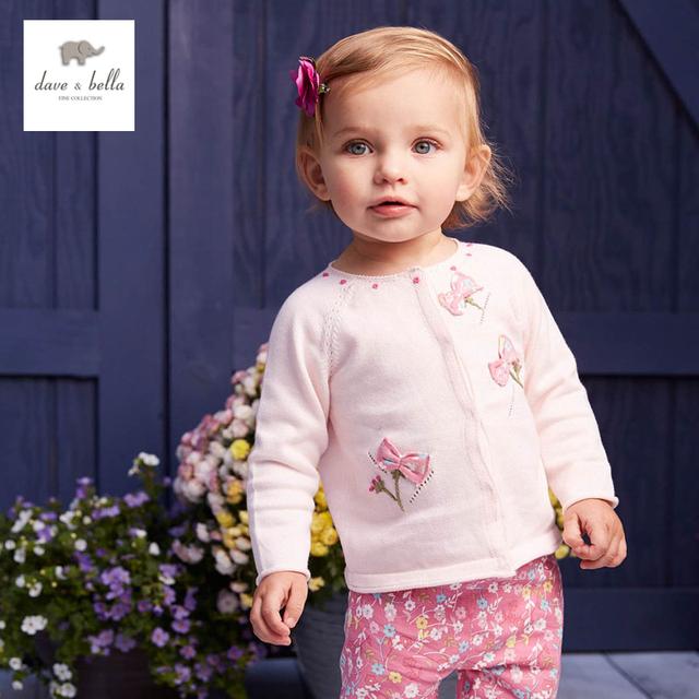 DB4358 de dave bella otoño primavera niñas bebés rosa flor suéter dulce elegante diseño suéter de las rebecas