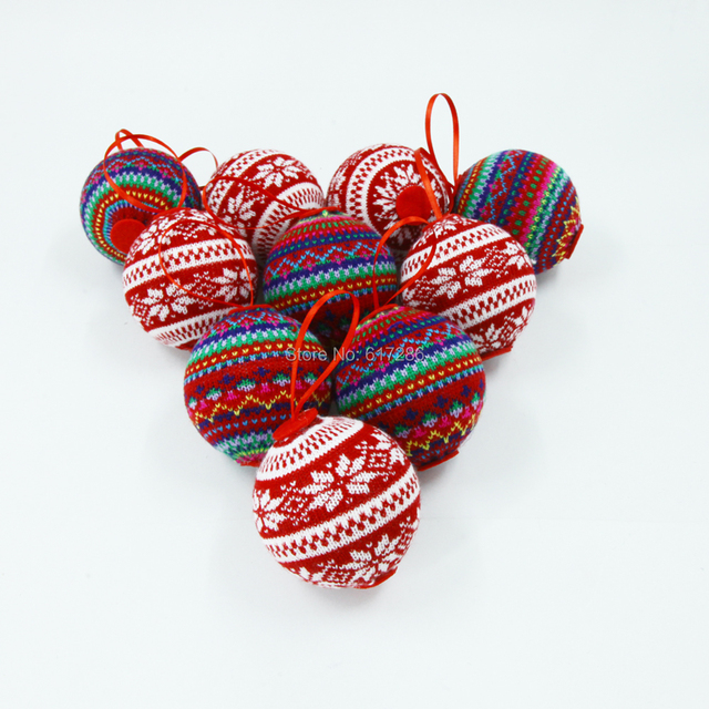 Us 40 0 10pcs Lot Lovely Big Christmas Tree Ornaments Knitted Christmas Balls 7 7cm With 2 Color In Pendant Drop Ornaments From Home Garden On
