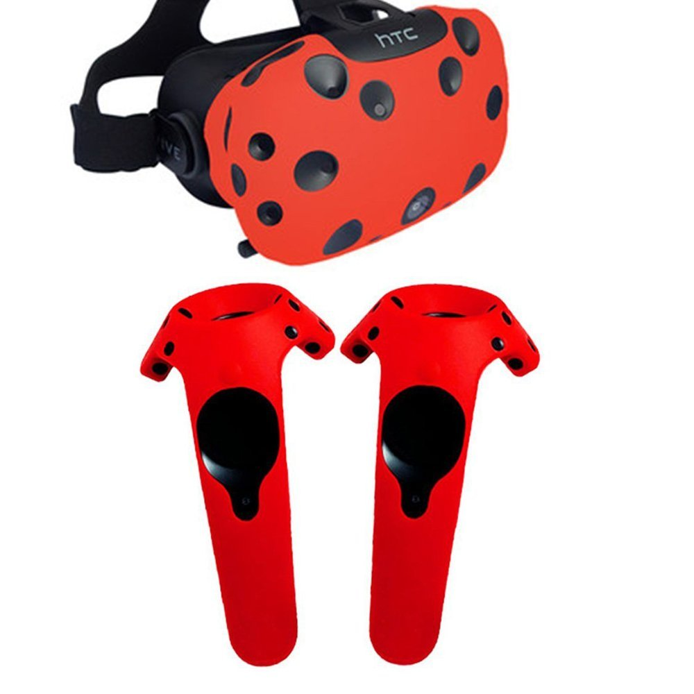 Case For HTC Vive Headset <font><b>VR</b></font> Silicone Case Cover <font><b>VR</b></font> <font><b>Glasses</b></font> Helmet Controller Handle Case Skin Shell VIRTUAL REALITY Accessories image