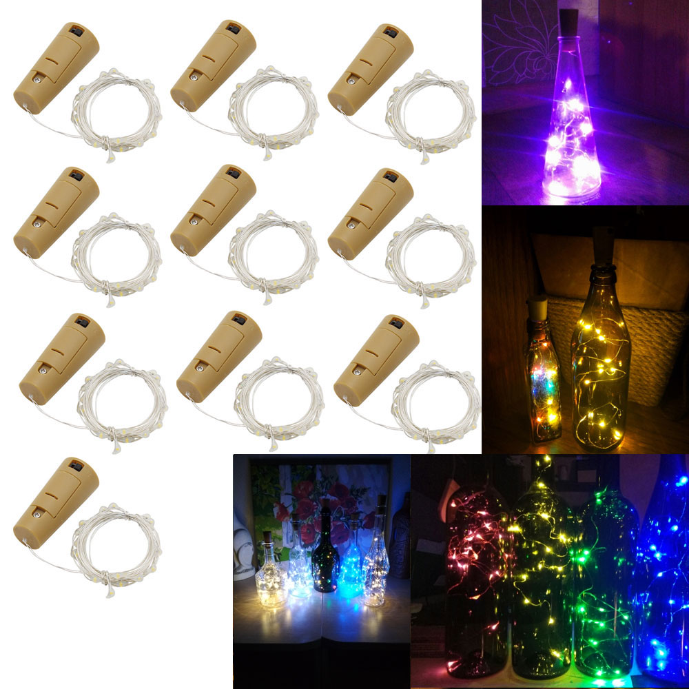 10PCS/Lot LED Fairy Light 1M 2M 3M String Light Battery Powered Garland Copper Wire Gerlyanda For Garden Outdoor Christmas Decor