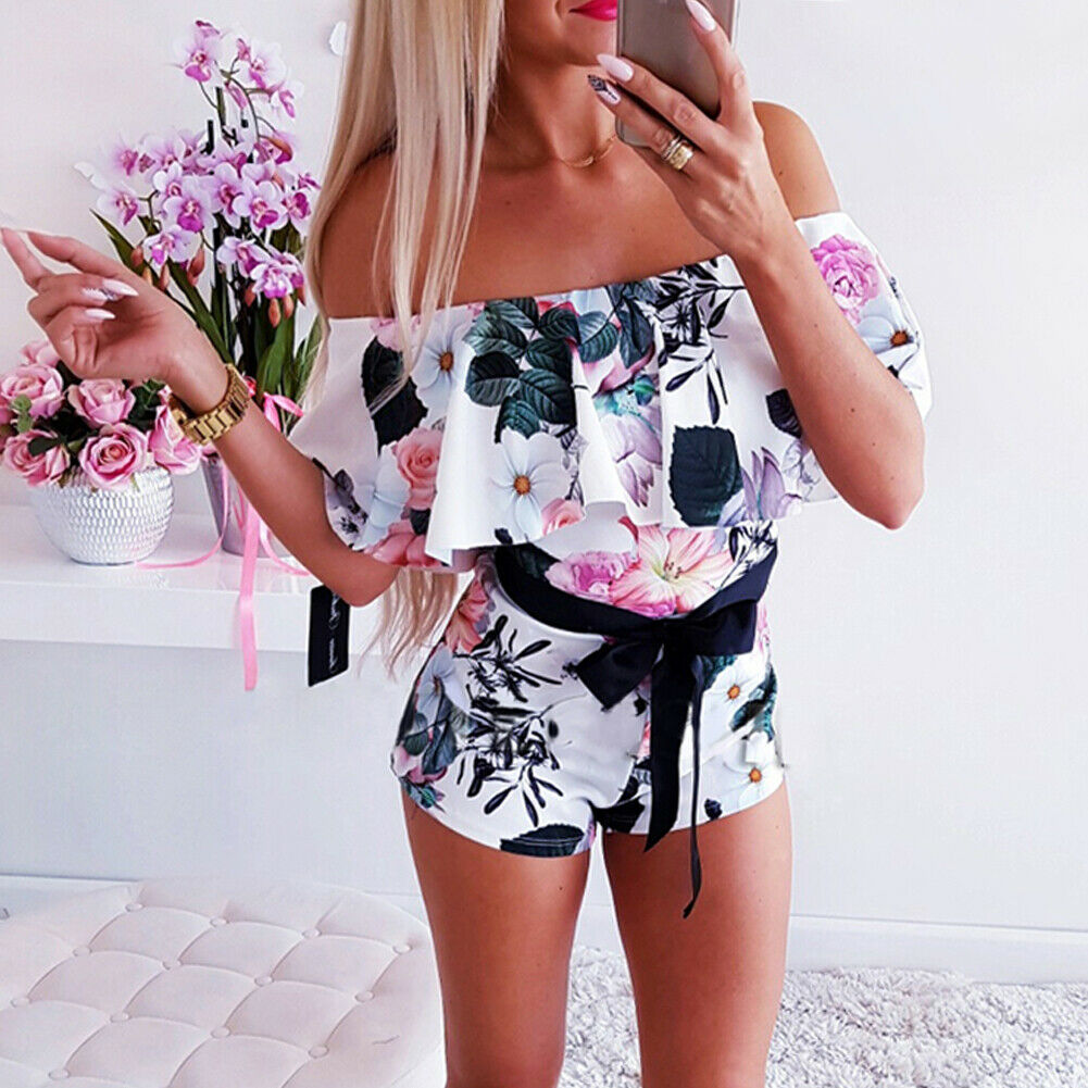 Boho Women Off Shoulder Floral Bodycon Romper   Jumpsuit   Fashion Ladies Summer Club Tights Bodysuit Short Pants Trouser