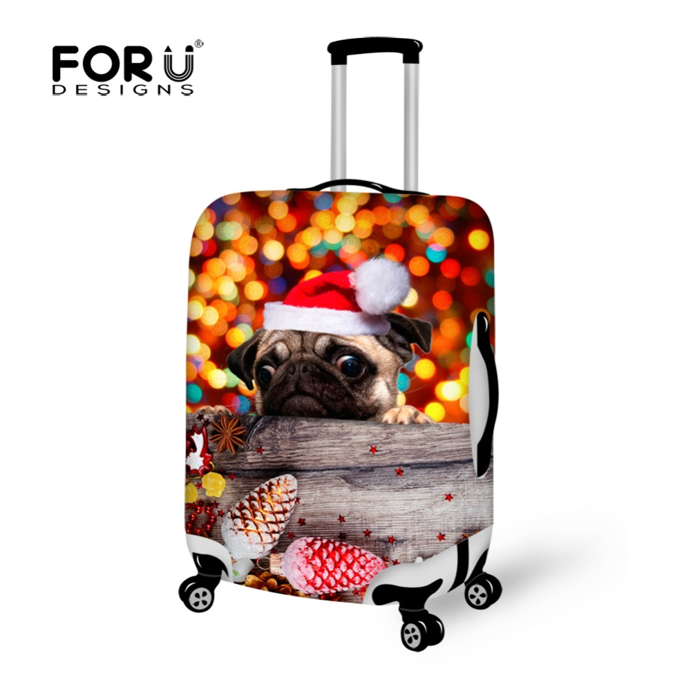 FORUDESIGNS Travel Luggage Protective Cover Apply To 18 -30 Inch Case Christmas Dog Waterproof Rain Cover for Trolley Suitcase