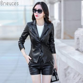 Brieuces Brand New 2018 Motorcycle PU Leather Jacket Women Winter And Autumn Fashion Womens jacket Button Outerwear 5XL