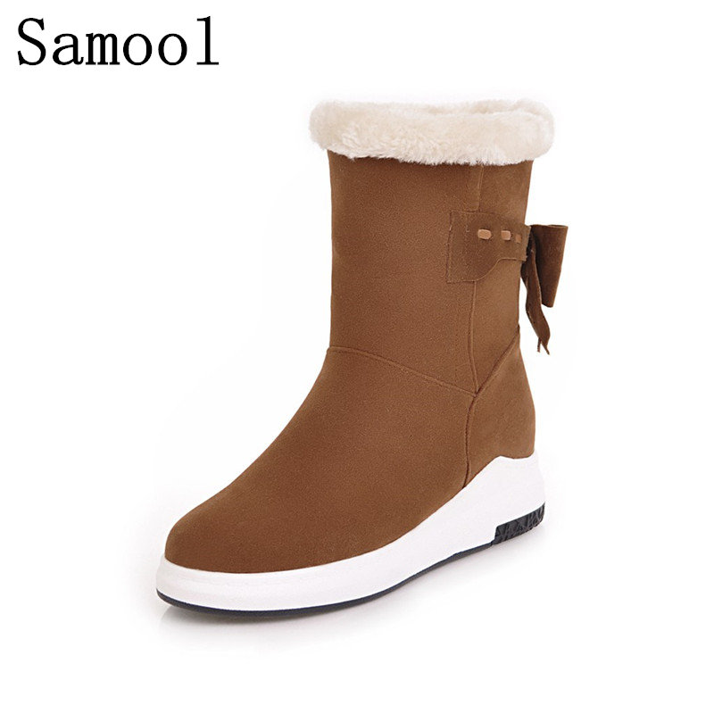 2017 Fashion Cow Suede Women Boots Butterfly Snow Winter Boots Women Shoes Thicken Cotton Keep Warm With Fur Snow Boots fashion keep warm winter women boots snow boots 2017 buckle cotton boots women boots shoes