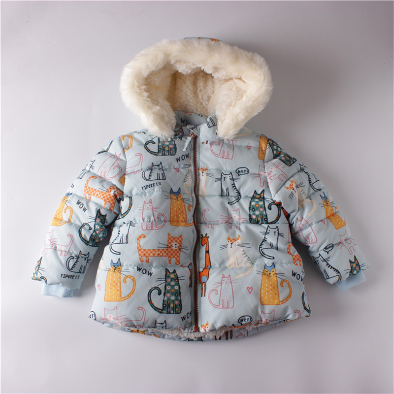 2016 Children Outerwear Baby Girls Jacket Coats Cartoon Cat Children Winter Jacket Parkas Kids Clothing Girls Parkas kids plastic frame sunglasses children girls bownot cartoon cat shades eyeglasses oculos de sol crianca baby children sunglasses