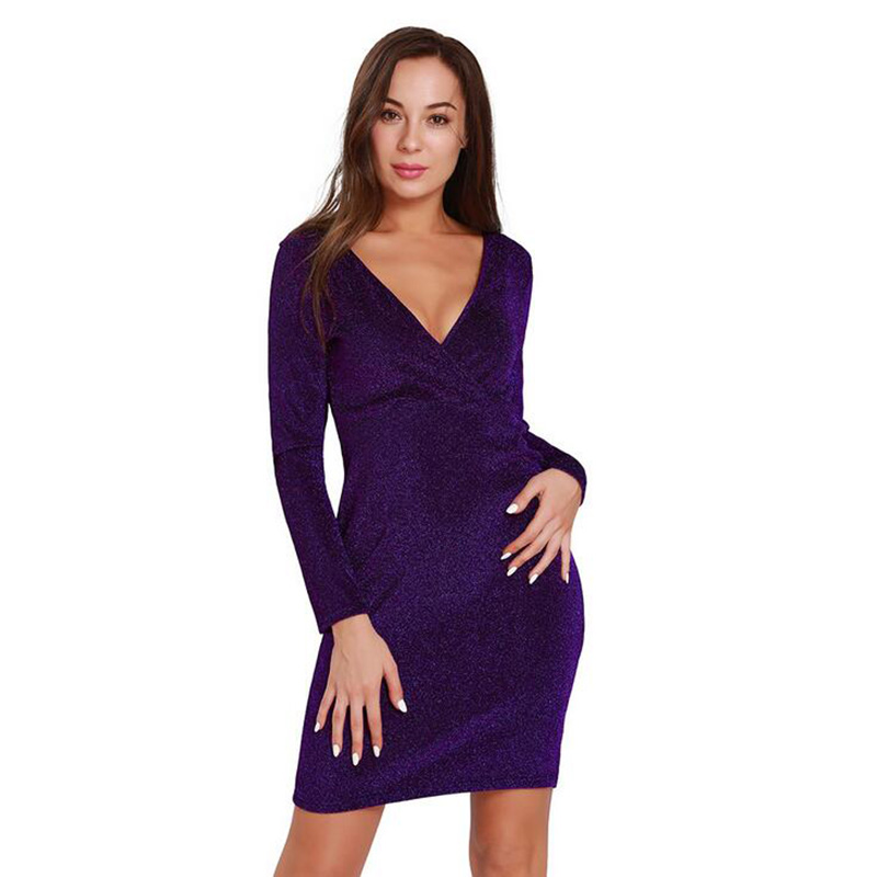 2018 Women fashion Sequin deep V Collar Nightclub sexy dress Wear Black silver purple Dresses Sequined sexy Dress party dresses