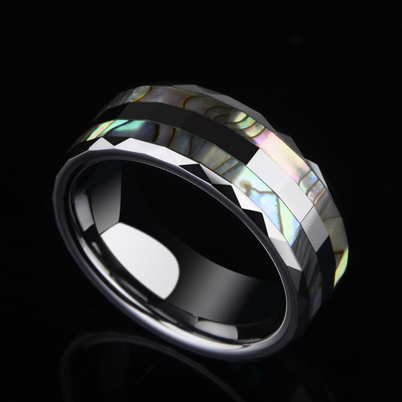 New Fashion Colorful Two Pcs Mother of Pearl Inlay Tungsten Rings High Polished 6mm/8mm for Man Woman Free Shipping Size 7-13 22mk430h b