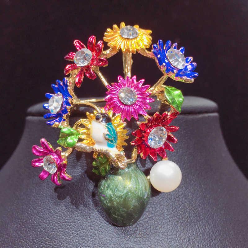 Zhboruini 2019 Baru Kualitas Tinggi Nyata Mutiara Air Tawar Alami Bros Vas Bunga Enamel Bros Pin Perhiasan Mutiara untuk Wanita G