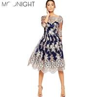 MOONIGHT Newest Fashion Knee Length Dress Women S Elegant Half Sleeve Floral Embroidery Vintage Dress
