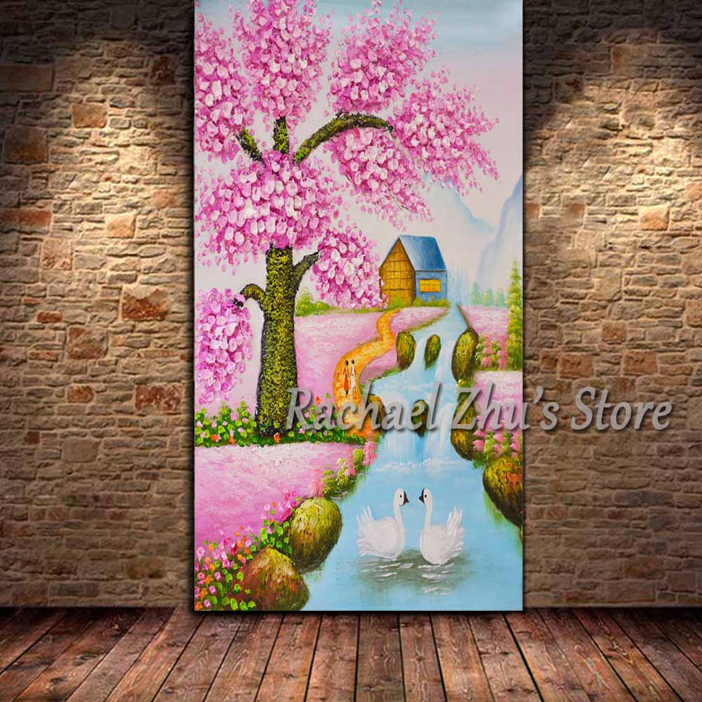 Hand Painted Palette Knife Pink Tree Flower Landscape Oil Painting On Canvas River Wall Picture Living Room Home Wall Decor Art