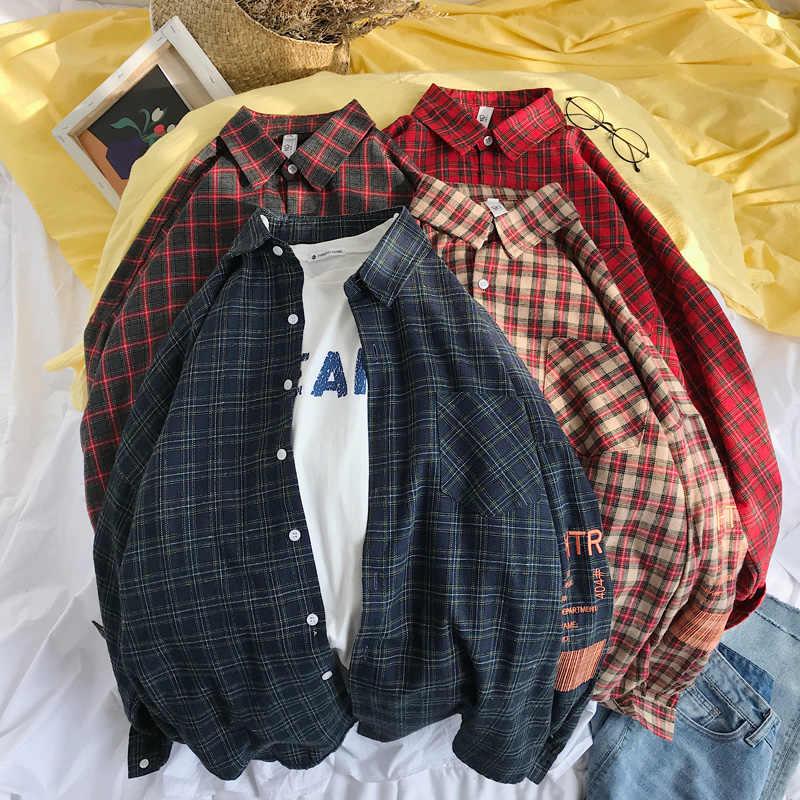 5343a889 Privathinker Men Embroidery Plaid Shirts Designer 2019 Mens Harajuku Korean  Fashion Shirt Male Spring Cotton Shirts