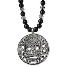 ae7a1ae96cdc Enigmático cráneo colgante negro Matte obsidiana esqueleto colgantes collar  hombres joyería cúbicos Zirconia cráneo Thomas Hallo.