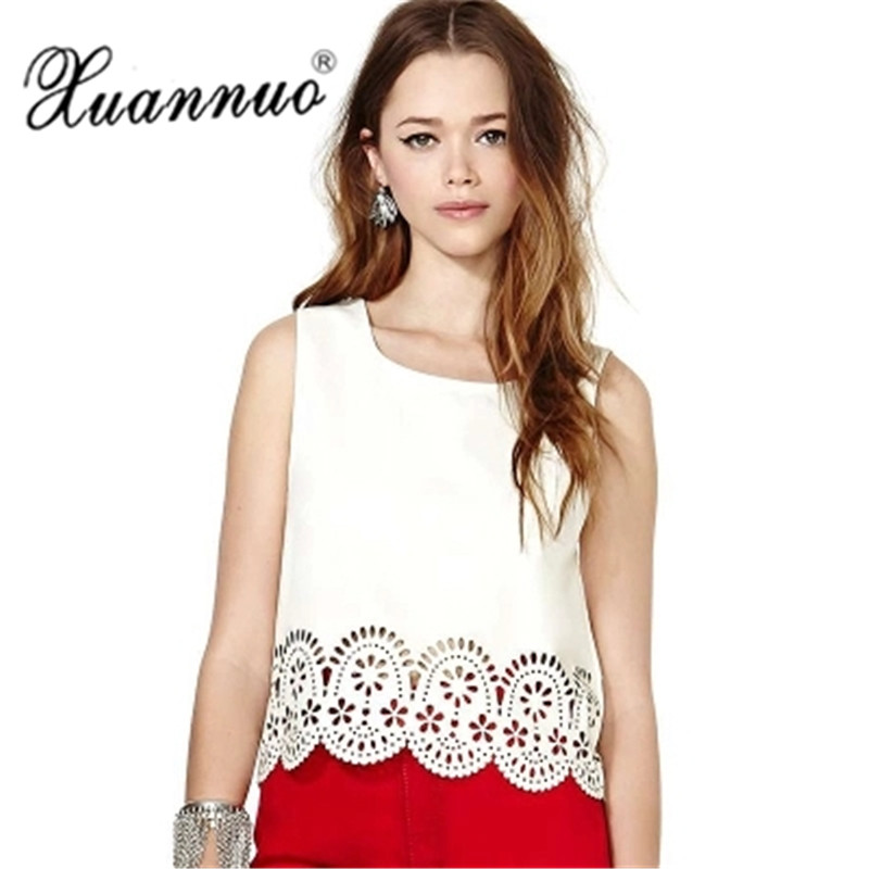 XuanNuo Lace Insert Wrap Front Top Women White O Шкіряний - Жіночий одяг