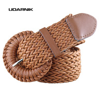 Womens Ladies Wide Braided Belt Woven Pin Buckle Waistband Faux Leather Dress Belt Fashion Brown Black