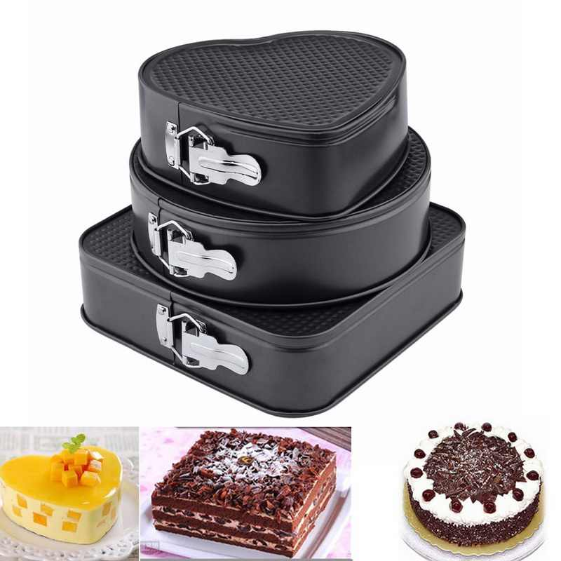3PC Bakeware Baking Pans Kitchen Cake mold Small Round baking dish Heavy Carbon Non-stick Slipknot Removable Base Tray