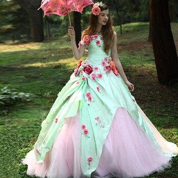 4f9c85365a BONJEAN colorido 3D flores Vestido de Quinceanera vestidos 2019 Sexy sin  tirantes dulce 16 vestidos para niña de Vestido de 15 anos