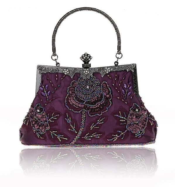 Purple Chinese Women's Beaded Sequined Wedding Evening Bag Clutch handbag Bride Party Purse Makeup Bag Free Shipping 03331-1-B