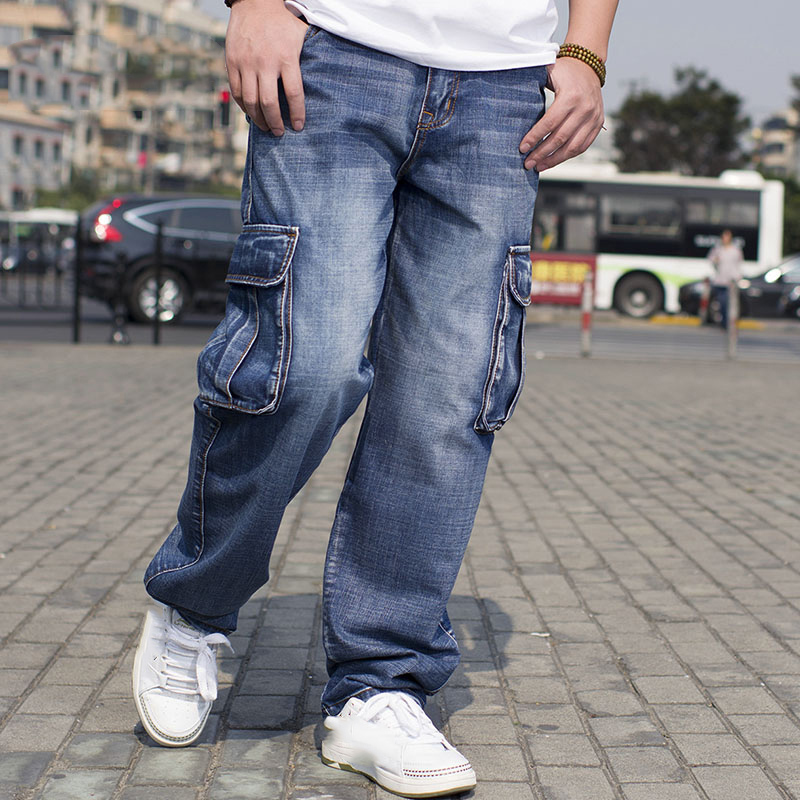 2017 Mens Cargo Jeans Pants Multi Pocket Hip Hop Designer Baggy Jeans Mens Loose Fit Casual Trousers Cotton Size 44 46 clothes