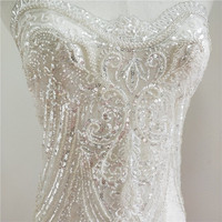 1 Yard Ivory beaded lace fabric silvery beads and sequins free shipping! 2019 NEW design Luxury wedding dress sewing lace nice!
