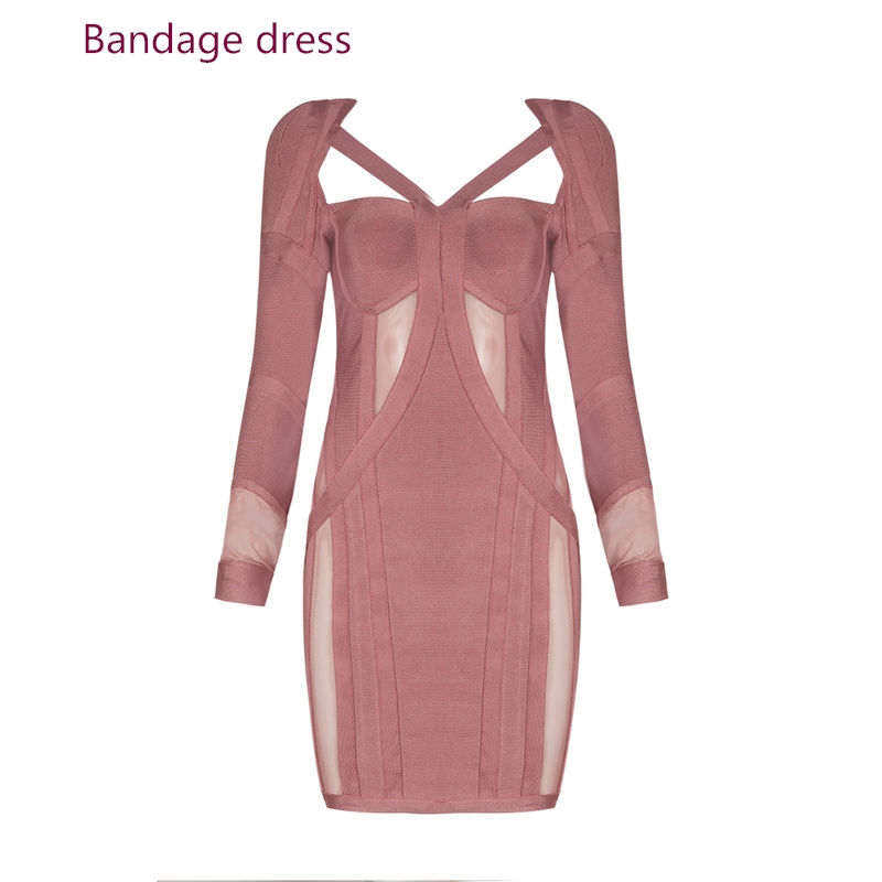 2017 New arrival Bodycon Dress Women Stand Cut Out Lace long sleeves Contrast Women Above knee Dress V-neck Bandage dress