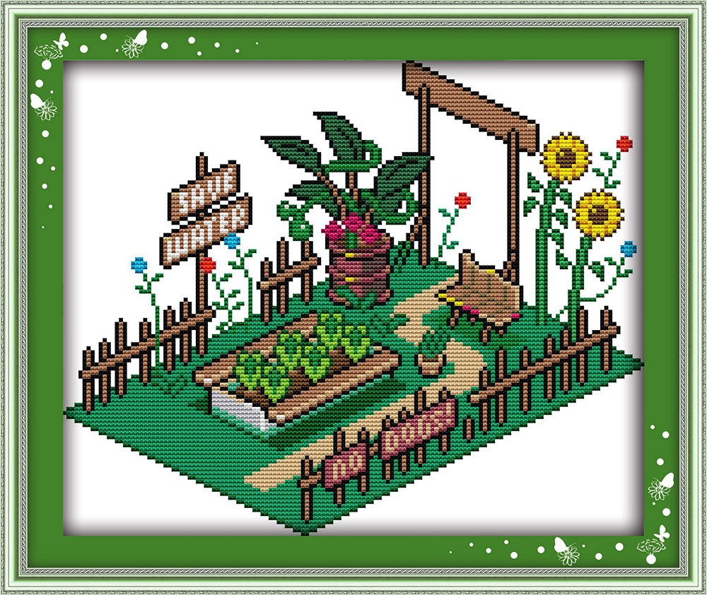 Vegetable garden cartoon - Joy Sunday Cartoon Style Vegetable Garden Cross Stitch Fabric Count 14ct Or 11ct For Home Decoration