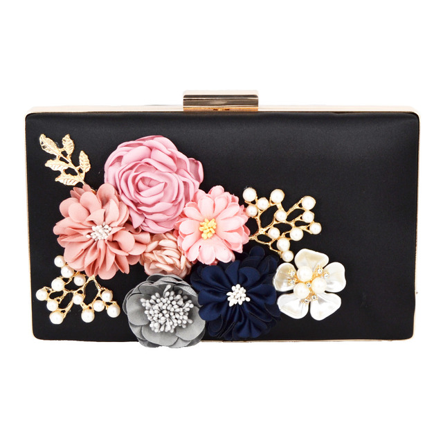 2017 newest Women Black Envelope Evening Clutch Bags Flower Chain Ladies Day  Clutches Wine Purple Female Wedding Bag Purse 808 19a7867ad1aa