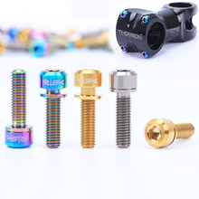 цена на RISK 6pcs M5x18mm Ti Titanium road Bicycle Stem Bolt Mountain Bike Ultralight Stem Screw with Washers Gasket bicycle DIY parts