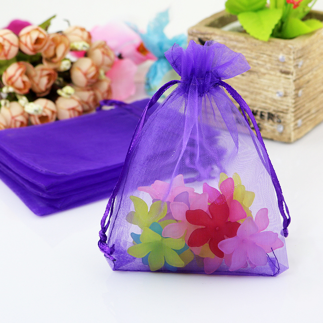 f4db9a49376 500pcs lot 13x18cm Dark Purple Drawable Organza Gift Bag Chiffon Gift Bag  Wedding Favor Packaging