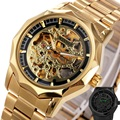 Golden Watches For Men 2017 WINNER Top Brand Luxury Men's Auto Mechanical Watches Luminous Hands Skeleton Royal Carving Series