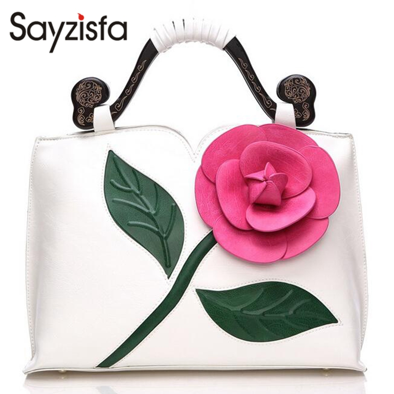 Sayzisfa Women Leather Handbags Luxury Big Flower bags Women Famous Brands Female Tote Ladies Vintage Shoulder Bag bolsas T283