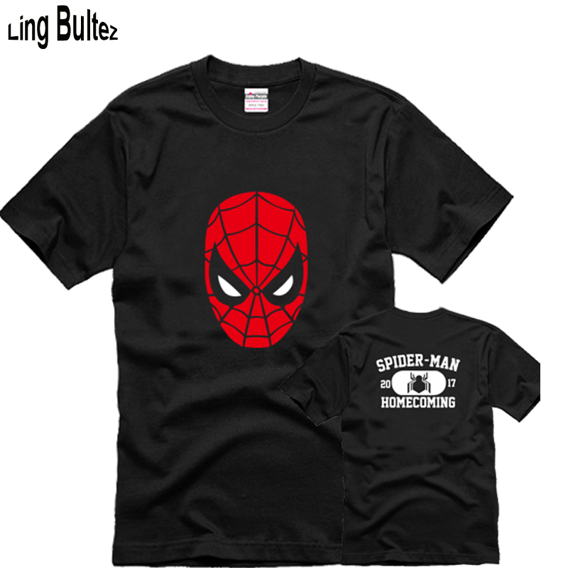 Ling Bultez High Quality Men Cotton T Shirt Homecoming Spiderman T shirt For Boys Black Spiderman Tshirt