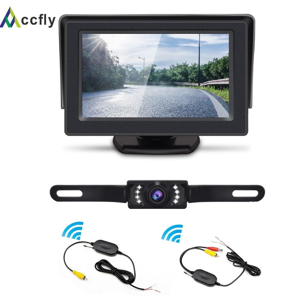 ACCFLY Wireless Backup Camera Kit Waterproof License Plate Reverse Rear View Back Up Car Camera 4