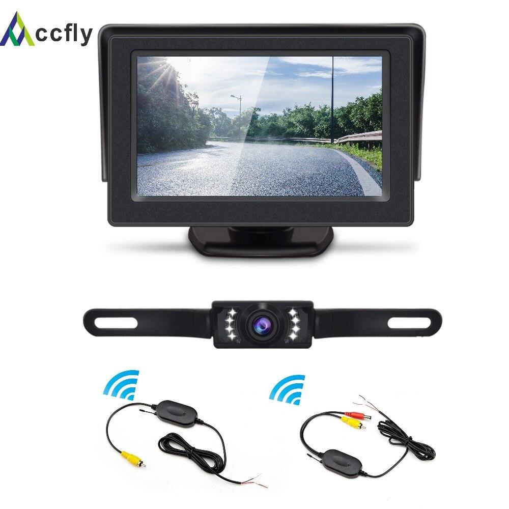 Комплект беспроводной резервной камеры ACCFLY, Водонепроницаемая Автомобильная камера заднего вида, 4,3 TFT lcd монитор заднего вида