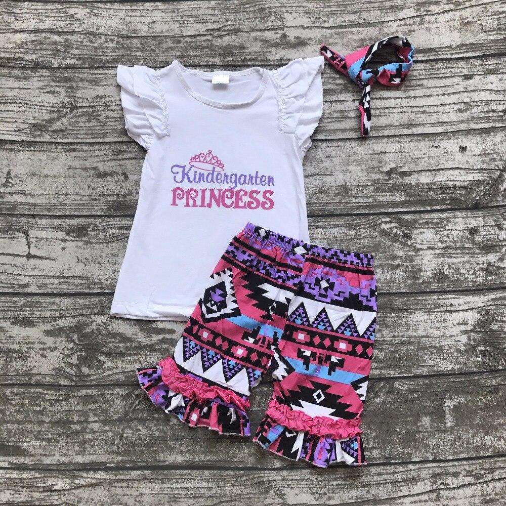 back to school otufits girl shorts sets Kindergarten princess clothing cotton Aztec summer girl boutique shorts