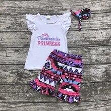 Retour à l'école otufits fille shorts ensembles Maternelle princesse vêtements coton Aztèque d'été fille boutique shorts avec bandeau