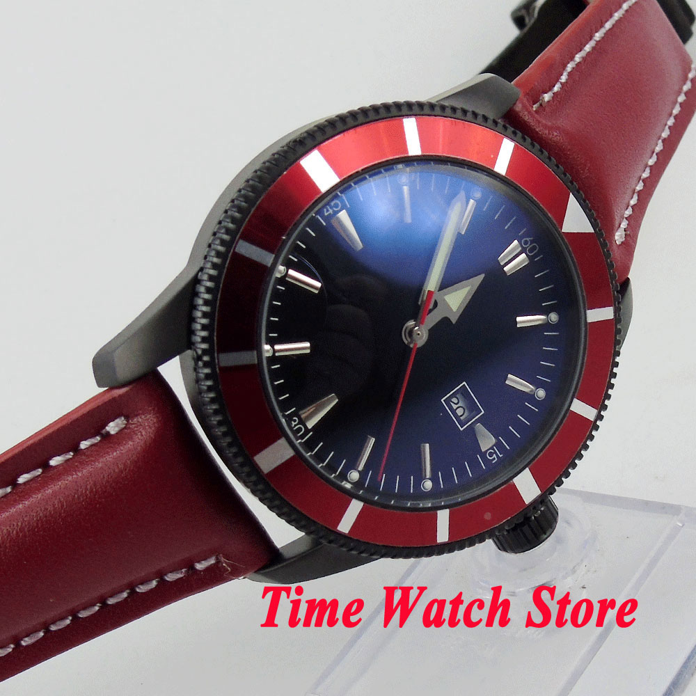 Bliger 46mm black steial dial red bezel luminous deployant clasp Black PVD case Automatic movement men's watch BL128 bliger 46mm white sterial dial date green bezel luminous black pvd case deployant clasp automatic men s watch 504