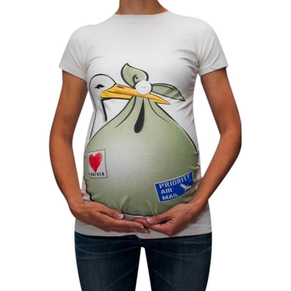 ผู้หญิง Funny Maternity เสื้อผ้าพิมพ์การ์ตูน Casual การตั้งครรภ์พยาบาลพยาบาลด้านบน T เสื้อฤดูร้อนเสื้อผ้าผู้หญิง Plus ขนาด