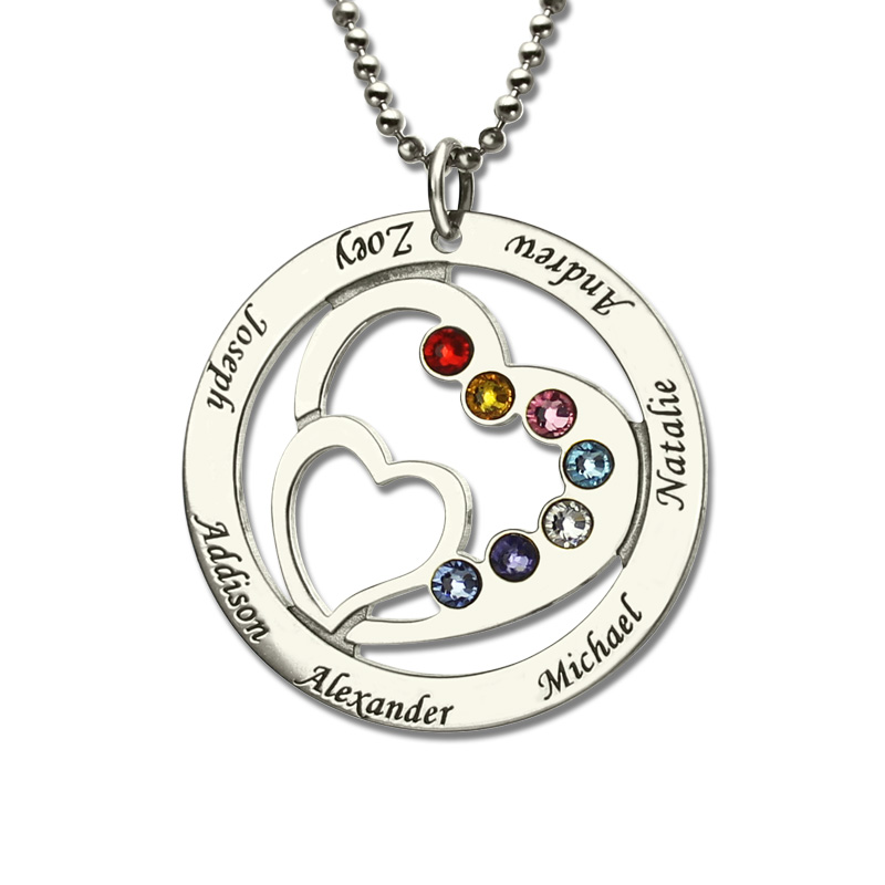 Heart in Heart Birthstone Family Name Necklace Personalized Mother Necklace Silver Birthstone Brand Necklace Mother Jewelry