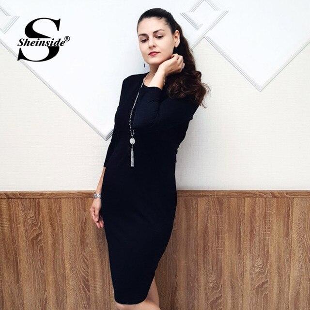 Sheinside Black Elegant Bodycon Women Dress 5