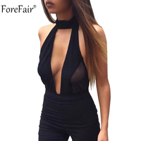 ForeFair Sexy Perspective Backless Bodysuit Women Short Skinny Halter Jumpsuit Sexy Club Party Tops